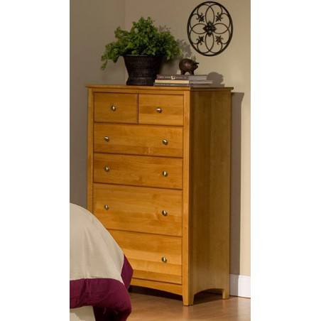 [33 Inch] Alder Shaker 6 Drawer BC Chest - shown in Honey finish with Brushed Nickel knobs