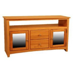 [47 Inch] Alder Shaker TV Console - shown in Honey finish with Brushed Nickel knobs