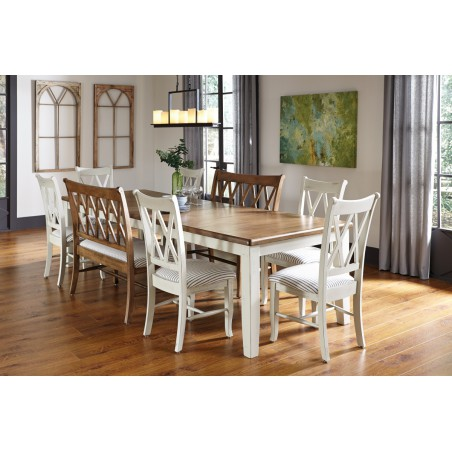 [120 Inch] 9 Pc Double XX Dining Group - Shown in HD Sand & HD Hazlenut